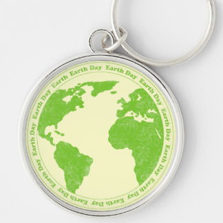 Earth Day Rubber Stamp Keychain