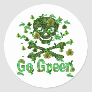 Earth Day Skull Classic Round Sticker