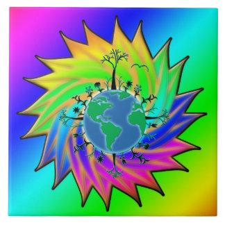 Earth Day ~ Sunburst Large Square Tile