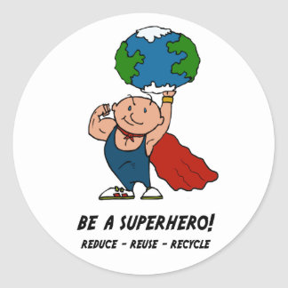 Earth Day Superhero Round Sticker
