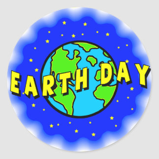Earth Day Tee and Presents Round Stickers