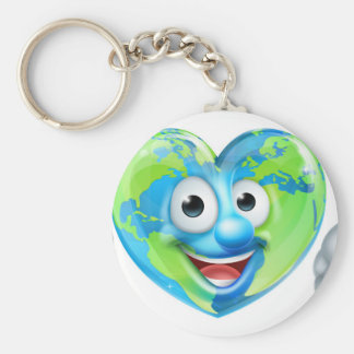 Earth Day Thumbs Up Heart Mascot Cartoon Character Basic Round Button Key Ring
