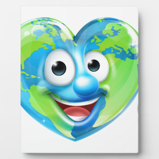 Earth Day Thumbs Up Heart Mascot Cartoon Character Plaque