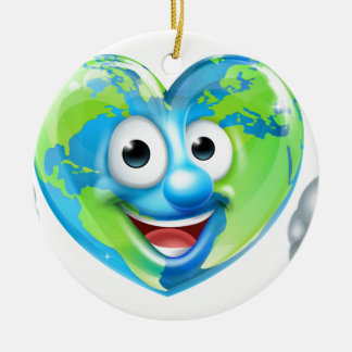 Earth Day Thumbs Up Heart Mascot Cartoon Character Round Ceramic Decoration