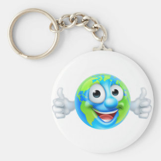 Earth Day Thumbs Up Mascot Cartoon Character Basic Round Button Key Ring