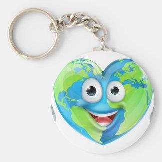 Earth Day Thumbs Up Mascot Heart Globe Cartoon Cha Basic Round Button Key Ring