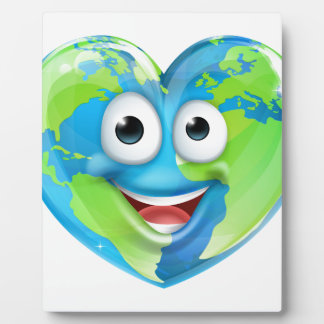 Earth Day Thumbs Up Mascot Heart Globe Cartoon Cha Photo Plaque