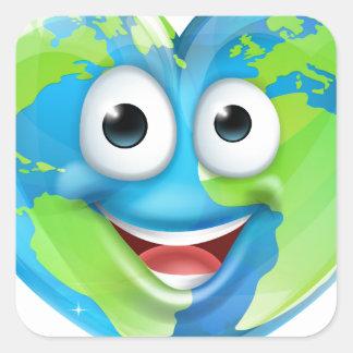 Earth Day Thumbs Up Mascot Heart Globe Cartoon Cha Square Sticker