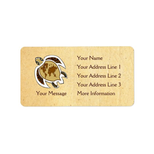 Earth Day Turtle Name Tag Address Labels
