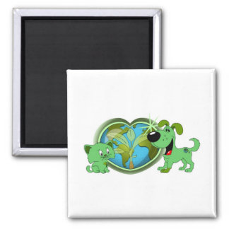 Earth Day with Leaf and Blade Square Magnet