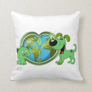 Earth Day with Leaf and Blade Throw Pillow