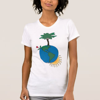 Earth Day with sun and tree - North America T Shirts