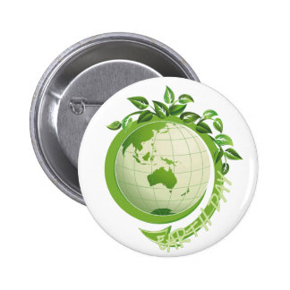 Earth Day with Vines 6 Cm Round Badge
