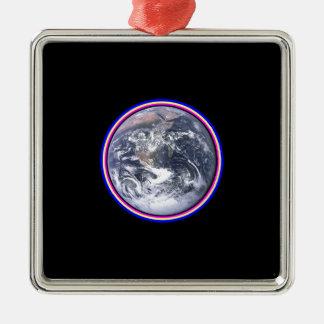 Earth Silver-Colored Square Ornament