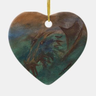 Earth Dragon Ceramic Heart Decoration