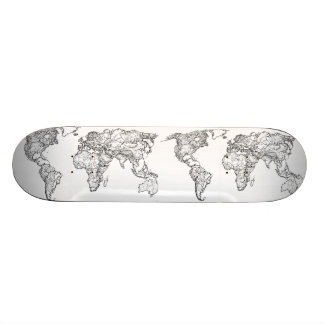 Earth drawing continents skateboard decks