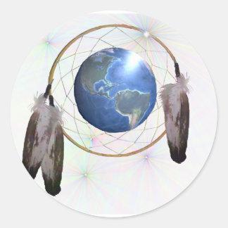 Earth Dreamcatcher Classic Round Sticker