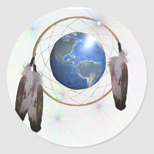 Earth Dreamcatcher Classic Round Sticker