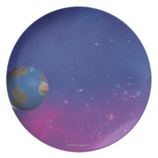 Earth from outer space plate