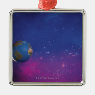 Earth from outer space Silver-Colored square decoration