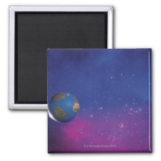 Earth from outer space square magnet