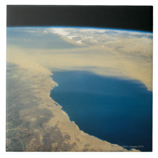 Earth From Space Large Square Tile