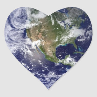 Earth From Space - Western Hemisphere Heart Sticker