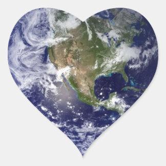 Earth From Space - Western Hemisphere Heart Sticker