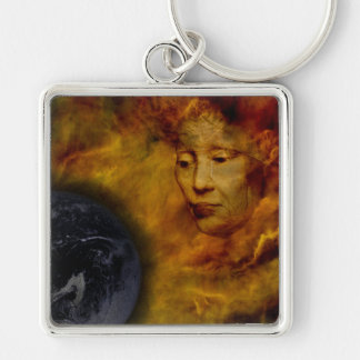 Earth Gaia Environment Digital Collage Keychain