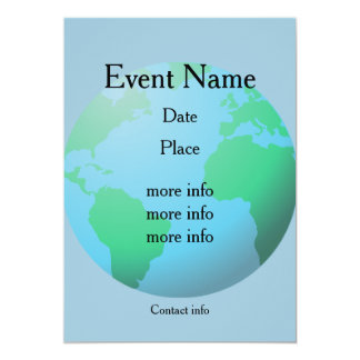 Earth globe background custom text card