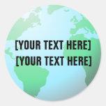 Earth Globe Background Custom Text Round Sticker