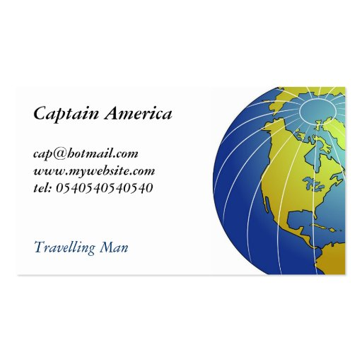 Earth Globe Double-Sided Standard Business Cards (Pack Of 100)