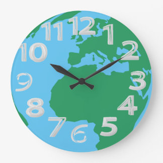 Earth globe large clock