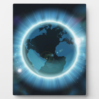 Earth Globe World Background Display Plaque