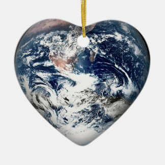 Earth Heart (Add Background Color) Christmas Ornament