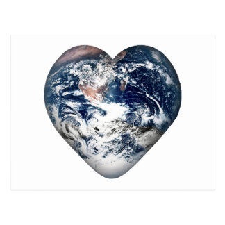 Earth Heart Add Background Color Postcard