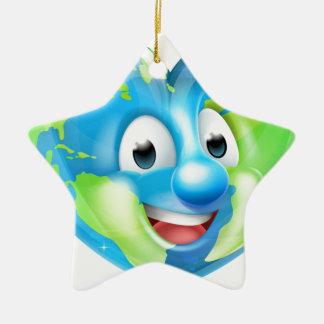 Earth Heart Globe Cartoon Character Christmas Ornament