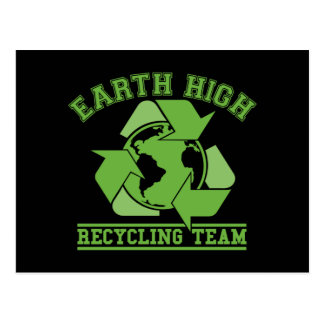 Earth High Recycling Dark Postcard
