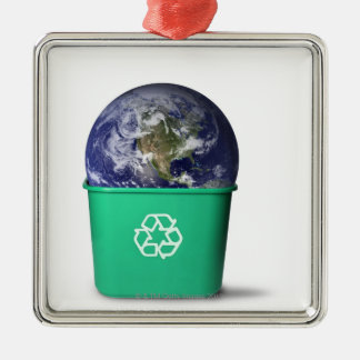 Earth in a recycle bin Silver-Colored square decoration