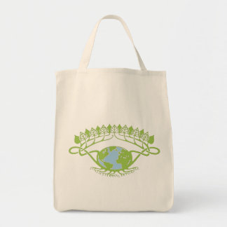 Earth in Art Nouveau Vines Grocery Tote Bag