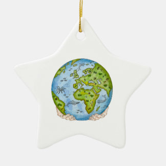 Earth in our hands ceramic star decoration