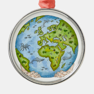 Earth in our hands christmas ornament