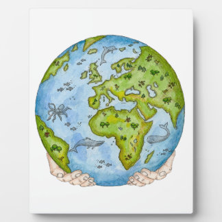 Earth in our hands photo plaque