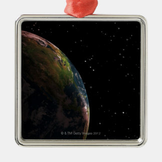 Earth in shadow in outer space christmas ornament