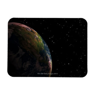 Earth in shadow in outer space rectangular photo magnet