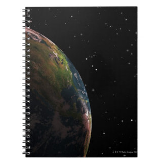 Earth in shadow in outer space spiral note book