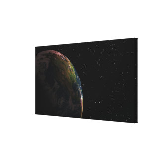 Earth in shadow in outer space stretched canvas print