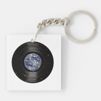 Earth In Space Vinyl LP Record Double-Sided Square Acrylic Key Ring