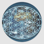 Earth in the Flower of Life - Wrapped in peace Round Stickers