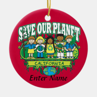 Earth Kids California Double-Sided Ceramic Round Christmas Ornament